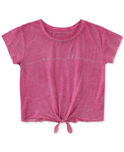 Calvin Klein Tie-Front Logo-Print Cotton T-Shirt, Big Girls