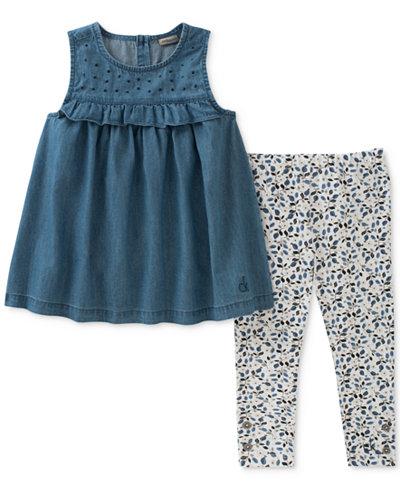 Calvin Klein 2-Pc. Denim Tunic & Leggings Set, Little Girls