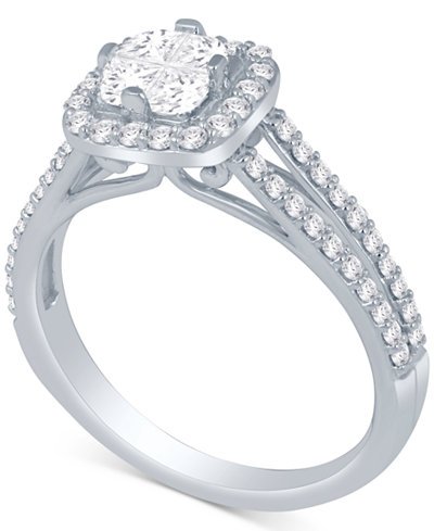 Diamond Halo Engagement Ring (1 ct. t.w.) in 14k White Gold