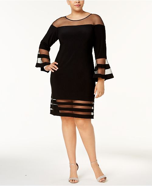 Betsy & Adam Plus Size Illusion-Stripe Bell-Sleeve Dress ...