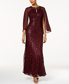 Petite Sequin Attached-Cape Gown