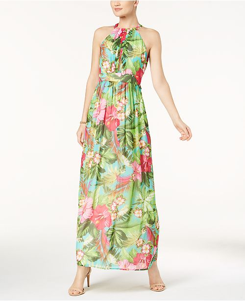 d7c63b961d Nine West Floral-Print Halter Maxi Dress   Reviews - Dresses - Women ...
