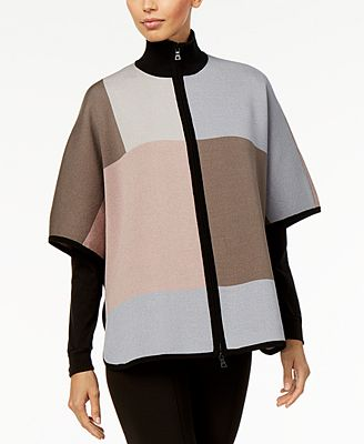 Anne Klein Colorblocked Poncho Sweater