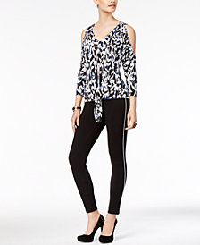 Thalia Sodi 3/4 Sleeve Tie-Front Top & Lace-Trim Leggings, Created for Macy's