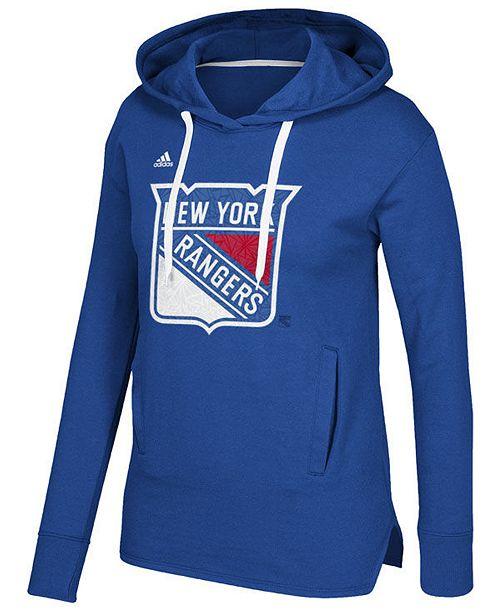 2408dfbdddff adidas Women s New York Rangers Logo Shine Hooded Sweatshirt ...