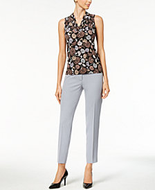 Anne Klein Printed Pleated V-Neck Top & Crepe Bowie Slim-Fit Pants