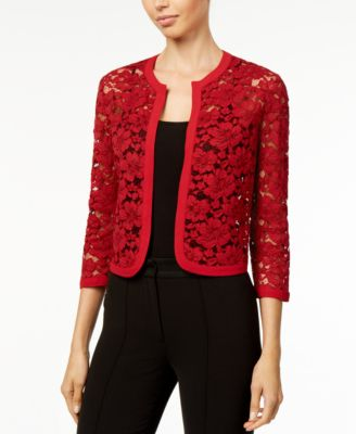 grfw anne klein red lace cardigan