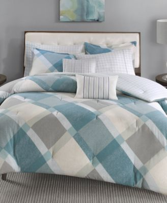 Drew 5-Pc. Cotton Flannel Reversible Twin Comforter Set