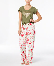 HUE® Ruffled-Sleeve Pajama Top & Rose-Print Pajama Pants