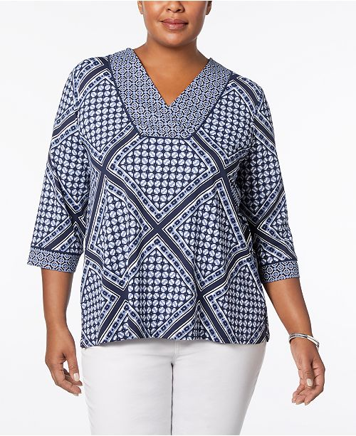 Plus Size Scarf-Print Top, Created for Macy's