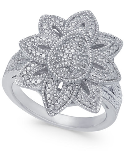 Diamond Fancy Floral Statement Ring (1/7 ct. t.w.) in Sterling Silver