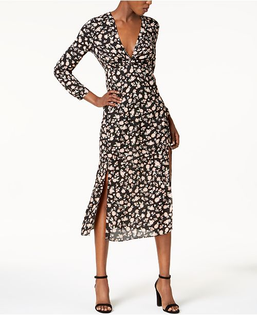 Floral-Print Double-Slit Midi Dress