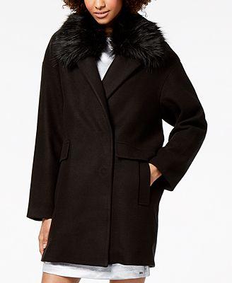 Armani Exchange Faux-Fur-Collar Coat