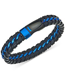 Woven Leather Bracelet in Black & Blue Ion-Plated Stainless Steel, Created for Macy's