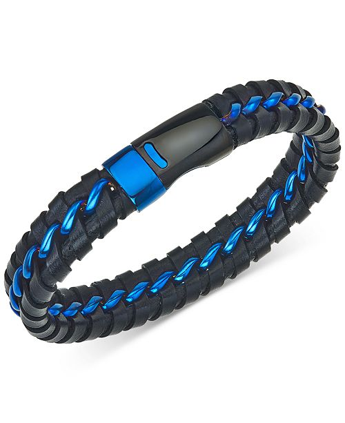 Esquire Men's Jewelry Woven Leather Bracelet in Black & Blue Ion-Plated Stainless Steel, Created for Macy's