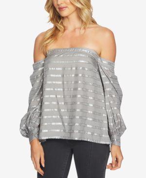 1.state Metallic-Stripe Off-The-Shoulder Blouson-Sleeve Blouse