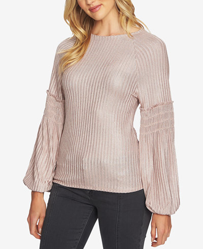 1.STATE Ribbed Bishop-Sleeve Top