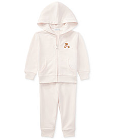 Ralph Lauren Baby Girls Bear Hoodie & Pants Set