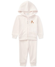 Ralph Lauren Baby Girls Bear Hoodie & Pants Set