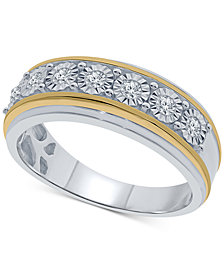 Men's Diamond Two-Tone Band (1/4 ct. t.w.) in Sterling Silver & 14k Gold-Plated Sterling Silver