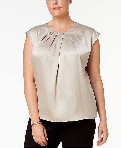 ab416e773a3bdf Kasper Plus Size Pleated Cap-Sleeve Blouse   Reviews - Tops - Women ...