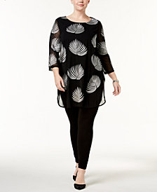Alfani Plus Size Embroidered Tunic, Created for Macy's