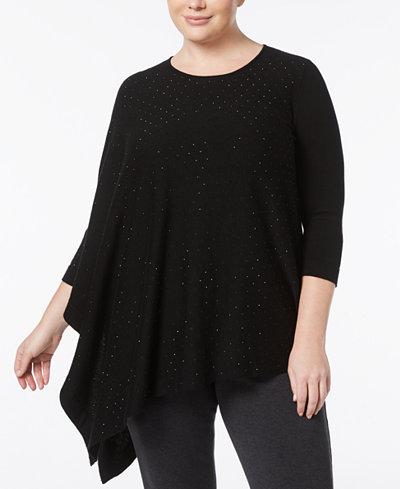 Anne Klein Plus Size Rhinestone Asymmetrical-Hem Sweater