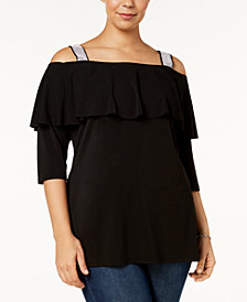 Belldini Plus Size Off-The-Shoulder Ruffled Tunic