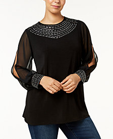 Belldini Plus Size Split-Sleeve Rhinestone Top