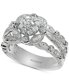 EFFY® Diamond Floral Engagement Ring (7/8 ct. t.w.) in 14k White Gold