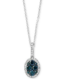 EFFY® Diamond Halo Pendant Necklace (1/2 ct. t.w.) in 14k White Gold