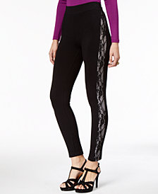 Thalia Sodi Lace-Trim Leggings, Created for Macy's