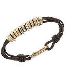 R.T. James Men's Leather Rondelle Bracelet, Created for Macy's