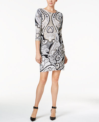 Charter Club Petite Paisley-Print Shift Dress, Created for Macy's