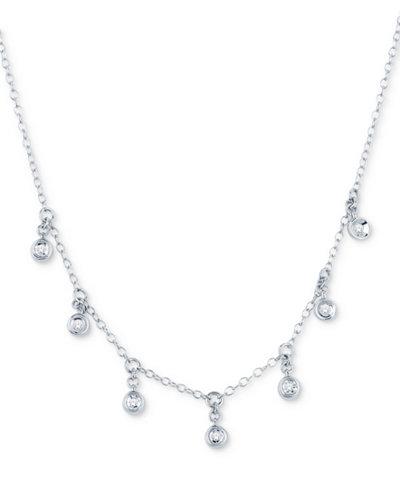 Diamond Accent Dangle Collar Necklace in 10k White Gold