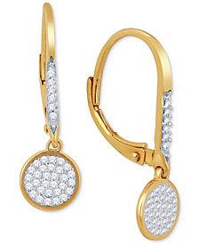 Diamond Pavé Drop Earrings (1/5 ct. t.w.) in 10k Gold