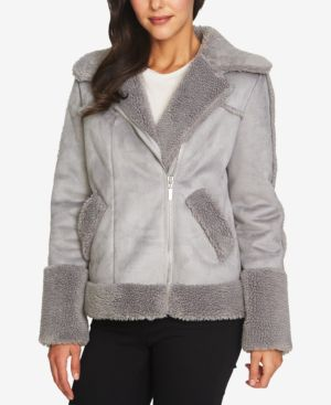 Image of 1.state Faux-Fur-Trim Moto Coat
