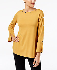 Alfani Petite Studded Long-Sleeve Sweater, Created for Macy's