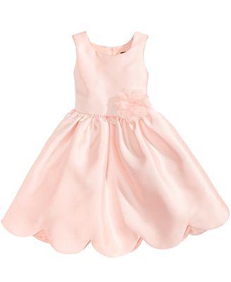 Pink Violet Satin Scalloped Hem Dress Little Girls Dresses