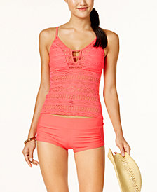 Hula Honey Juniors' Little Wild One Crochet Tankini Top & Shorts, Created for Macy's