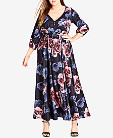City Chic Trendy Plus Size Button-Front Maxi Dress