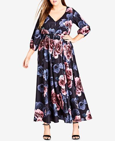 City Chic Trendy Plus Size Button-Front Maxi Dress