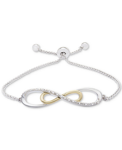 Diamond Accent Two-Tone Slider Bracelet in Sterling Silver and 10k Gold