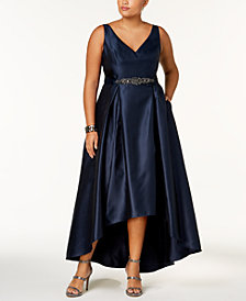 Adrianna Papell Plus Size Belted High-Low Gown