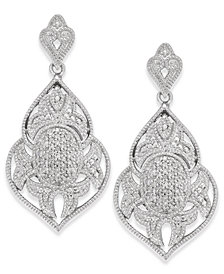 Diamond Pavé Drop Earrings (1/4 ct. t.w.) in Sterling Silver
