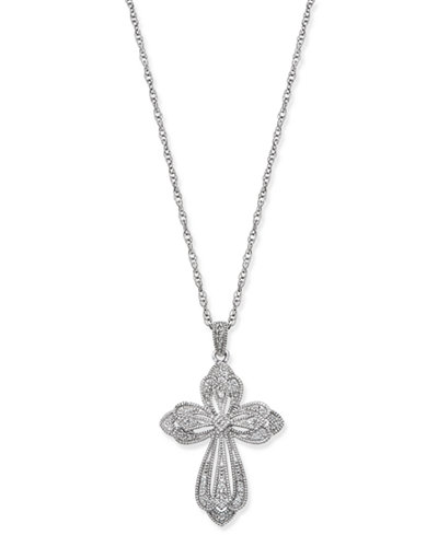 Diamond Cross Pendant Necklace (1/5 ct. t.w.) in Sterling Silver