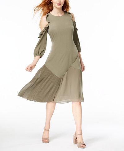 Bar III Cold-Shoulder Midi Dress, Created for Macy's