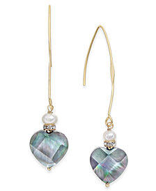 Paul & Pitü Naturally Gold-Tone Pavé, Imitation Pearl & Heart Stone Drop Earrings