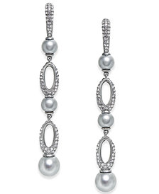 Danori Hematite-Tone Imitation Pearl & Pavé Drop Earrings, Created for Macy's