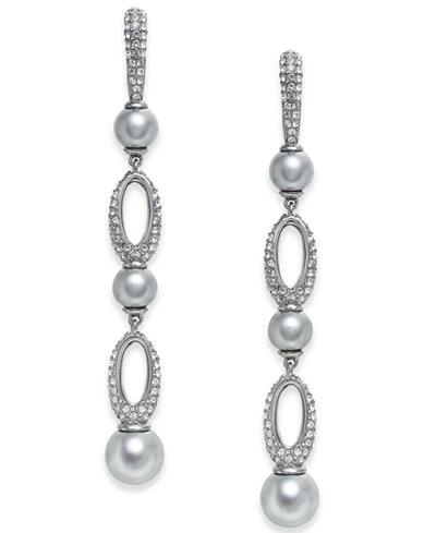 Danori Hematite-Tone Imitation Pearl & Pavé Drop Earrings, Created for Macy's